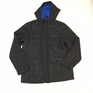 Gap Kids Charcoal Wool Hooded Dress Coat Pockets